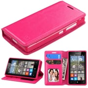 Insten Flip Leather Fabric Case w/stand/card holder/Photo Display For Microsoft lumia 435 - Hot Pink