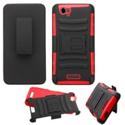 Insten Hard Dual Layer Plastic Silicone Cover Case w/Holster For BLU Studio Energy - Black/Red