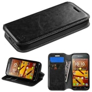 Insten Flip Leather Fabric Cover Case w/stand/card slot For Kyocera Hydro Icon 6730/Hydro Life 6530 - Black
