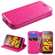 Insten Folio Leather Fabric Case w/stand/card slot For Kyocera Hydro Icon 6730/Hydro Life 6530 - Pink