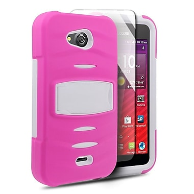 Insten Dual Layer Hybrid Case with Stand For Kyocera Hydro Wave - Hot Pink/White