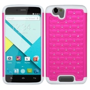 Insten Hard Hybrid Rugged Shockproof Rubberized Silicone Case w/Diamond For BLU Studio Energy - Hot Pink/White