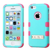 Insten Hard Hybrid Rubberized Silicone Cover Case w/stand For Apple iPhone 5C - Teal/Pink