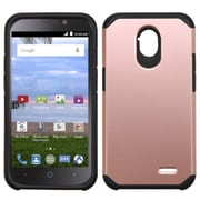 Insten Hard Dual Layer Rubberized Silicone Cover Case For ZTE Allstar - Rose Gold/Black