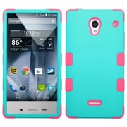 Insten For Sharp Aquos Crystal Teal Hot Pink Tuff Hard Silicone Hybrid Case Cover Rubber Shell Skin w/ protector