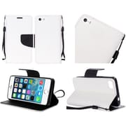 Insten Flip Leather Fabric Stand Cover Lanyard Case For Apple iPhone SE / 5 / 5S - White