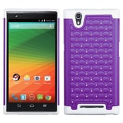 Insten For ZTE ZMax Purple White Hard Silicone Hybrid Rugged Shockproof Rubberized Case Diamond Back Shell Skin