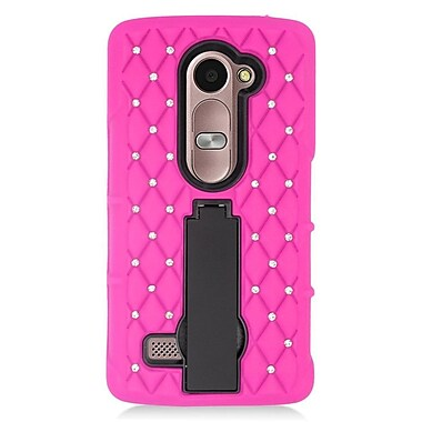 Insten Soft Dual Layer Rubber Hard Case For LG Leon/Destiny/Power/Tribute 2 - Hot Pink/Black