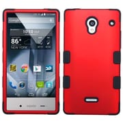 Insten For Sharp Aquos Crystal Red Black Tuff Hard Silicone Hybrid Rubber Case Cover Rubber Shell Skin w/ protector