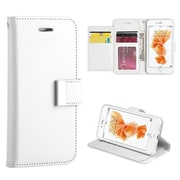 Insten Book-Style Leather Fabric Cover Case Lanyard w/stand/card slot/Photo Display For Apple iPhone 7 - White