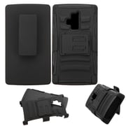 Insten Hard Dual Layer Plastic Silicone Cover Case w/stand/Holster For Coolpad Rogue - Black