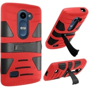 Insten Hard Dual Layer Rubberized Cover Case w/stand For LG Destiny/Leon/Power/Risio/Sunset/Tribute 2 - Red/Black
