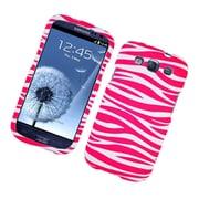 Insten Zebra Hard Rubber Cover Case For Samsung Galaxy S3 - Hot Pink/White
