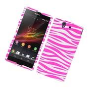 Insten Zebra Hard Case For Sony Xperia Z / C6603 - Hot Pink/White