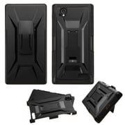 Insten Hard Hybrid Rugged Shockproof Plastic Silicone Cover Case w/Holster For ZTE Warp Elite - Black