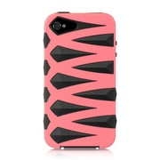 Insten Fusion Candy Skin Diamond Bling Hybrid Dual Layer Case For Apple iPhone 4 / 4S - Hot Pink/Black