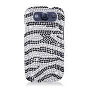 Insten Zebra Hard Rhinestone Case For Samsung Galaxy S3 - Black/Silver