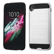 Insten Hard Dual Layer Rubberized Silicone Cover Case For Alcatel One Touch Idol 3 (5.5) - Silver/Black