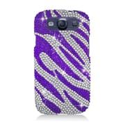 Insten Zebra Hard Diamond Cover Case For Samsung Galaxy S3 - Purple/Silver
