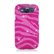 Insten Zebra Hard Rhinestone Cover Case For Samsung Galaxy S3 - Hot Pink/Pink
