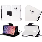 Insten Flip Leather Fabric Case Lanyard w/stand For Alcatel One Touch Fierce XL - White/Black