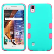 Insten Tuff Hard Dual Layer Silicone Cover Case For LG Tribute HD / X STYLE - Teal/Pink