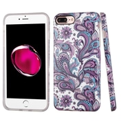 Insten European Flowers Rubber Case For Apple iPhone 7 Plus - Purple/White