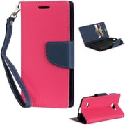 Insten Diary Leather Wallet Flip Card Pocket Stand Case Cover For LG Lancet VW820 - Hot Pink/Navy Blue