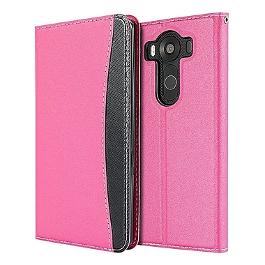 Insten Embassy Leather Flip Wallet Card Pouch Stand Case For LG V10 - Hot Pink/Black