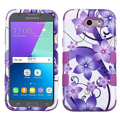Insten Tuff Hibiscus Flower Romance Hard Hybrid Rubber Coated Cover Case For Samsung Galaxy J3 (2017) - Purple/White