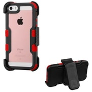 Insten Hard Dual Layer Transparent Crystal Silicone Cover Case w/Holster For Apple iPhone SE / 5 / 5S - Black/Red