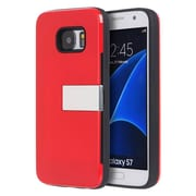 Insten Moderne Series Luxury Card Holder Hard Case with Stand For Samsung Galaxy S7 - Red