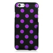 Insten Polka Dots Hard Rubber Cover Case For Apple iPhone 6 / 6s - Black/Purple