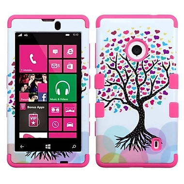 Insten Love Tree/Electric Pink TUFF Hybrid Soft Hard Phone Case Cover For NOKIA Lumia 521