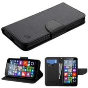 Insten Folio Leather Fabric Case w/stand/card holder For Microsoft Lumia 640(Metro PCS)/Lumia 640(T-mobile) - Black