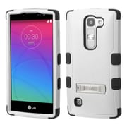 Insten Hard Dual Layer Silicone Case w/stand For LG Escape 2/Logos/Spirit 4G - White/Black