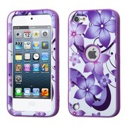 Insten Purple Hibiscus Flower Romance/Purple VERGE Hybrid Case Cover For Apple iPod Touch 6 6th 5 5th Gen