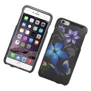 Insten Butterfly Hard Rubber Case for iPhone 6s Plus / 6 Plus - Blue/Purple
