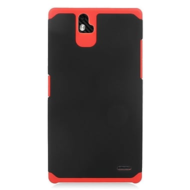Insten Hard Dual Layer Rubber Coated Silicone Case For ZTE Grand X Max - Black/Red