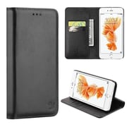 Insten Flip Leather Fabric Cover Case Magnetic w/stand/card slot For Apple iPhone 7 - Black