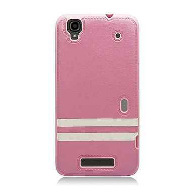 Insten Leather Fabric TPU Cover Case For ZTE Max/Max+ - Pink/Black