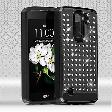 Insten Hard Dual Layer Rhinestone Silicone Case For LG Escape 3 / K7 / Treasure LTE - Black