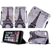 Insten Paris Book-Style Diamond Leather Stand Fabric Case w/Lanyard For Apple iPhone 6 / 6s - Black/White