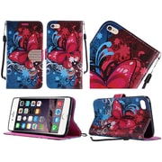 Insten Butterfly Bliss Diamond Folio Leather Stand Case w/ Lanyard For Apple iPhone 6s Plus / 6 Plus - Blue/Hot Pink
