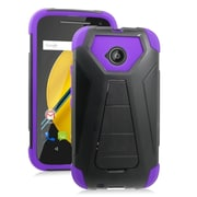 Insten Hard Hybrid Plastic Silicone Cover Case For Motorola Moto E (2nd Gen) - Purple/Black