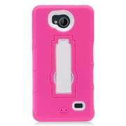 Insten Symbiosis Hybrid Hard Silicone Amor Shockproof Stand Case For ZTE Tempo - Hot Pink/White
