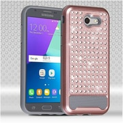 Insten Hard Hybrid Diamond Silicone Cover Case For Samsung Galaxy J3 (2017) - Rose Gold/Gray