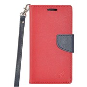 Insten PU Leather Wallet Flip Pouch Credit Card Stand Cover Case For HTC Bolt - Red/Blue