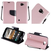 Insten Flip Leather Fabric Cover Case Lanyard w/stand For LG K3 - Rose Gold/Black