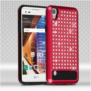 Insten Hard Hybrid Rhinestone Silicone Case For LG Tribute HD / X STYLE - Red/Black